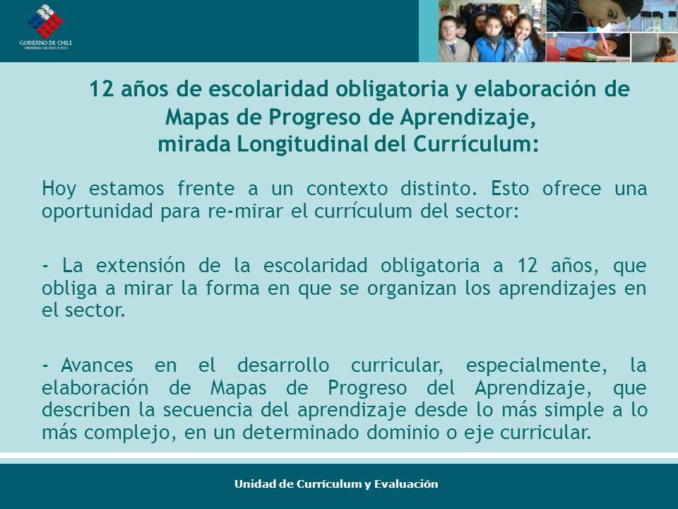 Unidad de Currículum y Evaluación 12 años de escolaridad obligatoria y elaboración de Mapas de Progreso de Aprendizaje, mirada Longitudinal del Curríc
