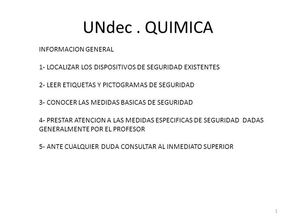 UNdec. QUIMICA INFORMACION GENERAL 1- LOCALIZAR LOS DISPOSITIVOS DE SEGURIDAD EXISTENTES 2- LEER ETIQUETAS Y PICTOGRAMAS DE SEGURIDAD 3- CONOCER LAS M