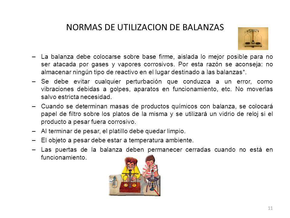 NORMAS DE UTILIZACION DE BALANZAS –La balanza debe colocarse sobre base firme, aislada lo mejor posible para no ser atacada por gases y vapores corros