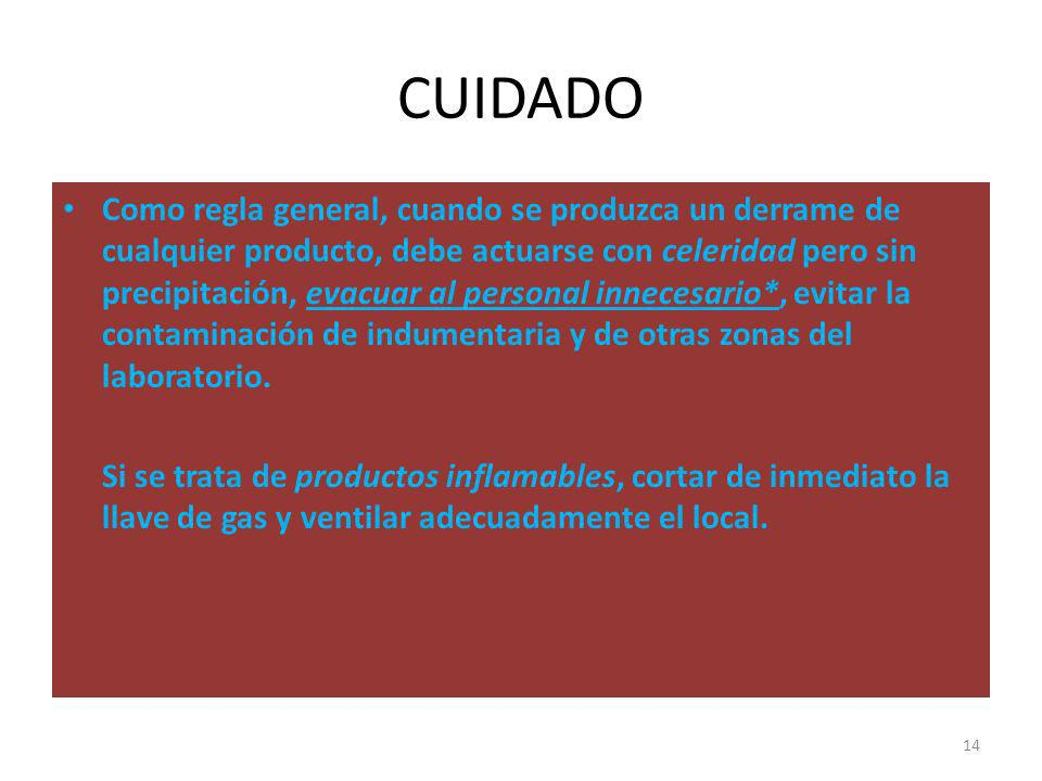 CUIDADO Como regla general, cuando se produzca un derrame de cualquier producto, debe actuarse con celeridad pero sin precipitación, evacuar al person