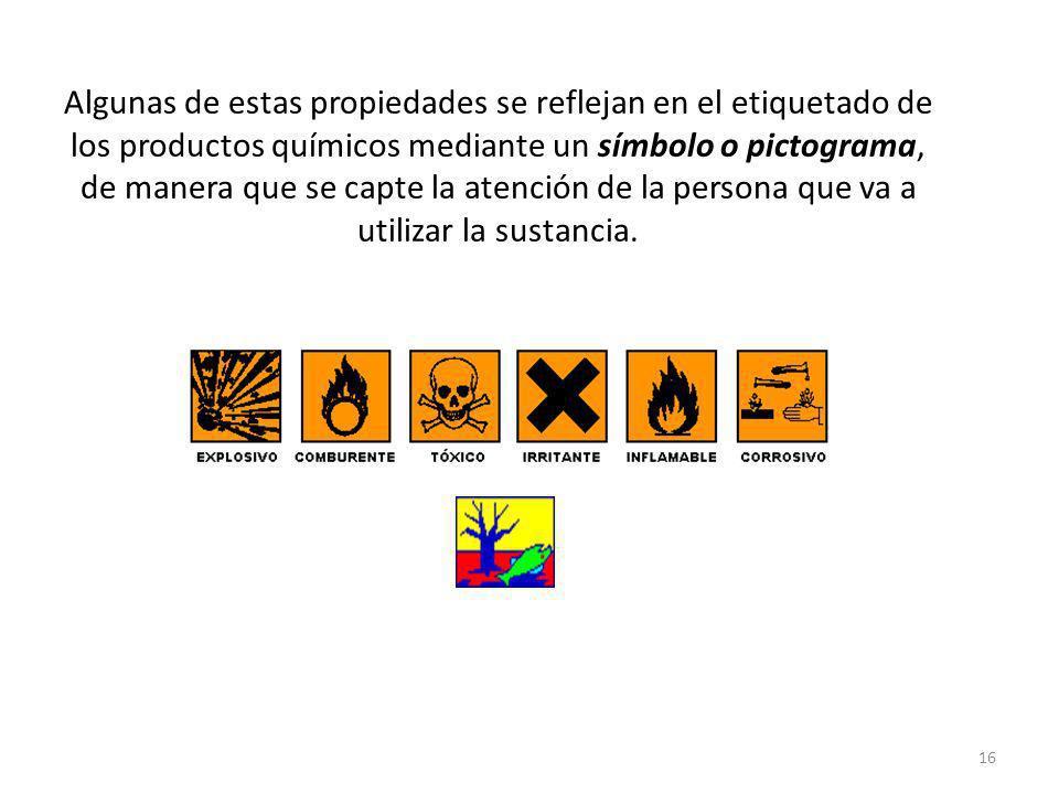 Algunas de estas propiedades se reflejan en el etiquetado de los productos químicos mediante un símbolo o pictograma, de manera que se capte la atenci