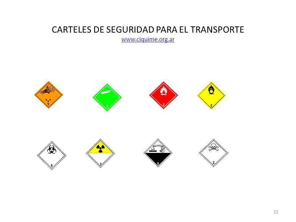 CARTELES DE SEGURIDAD PARA EL TRANSPORTE www.ciquime.org.ar www.ciquime.org.ar 21