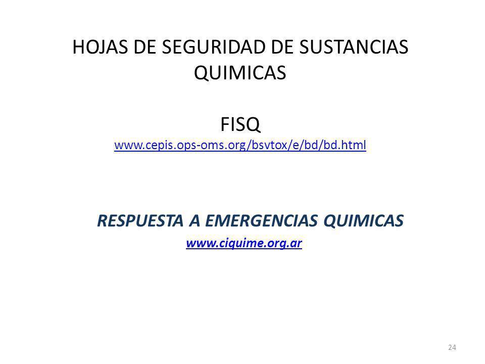 HOJAS DE SEGURIDAD DE SUSTANCIAS QUIMICAS FISQ www.cepis.ops-oms.org/bsvtox/e/bd/bd.html www.cepis.ops-oms.org/bsvtox/e/bd/bd.html RESPUESTA A EMERGEN