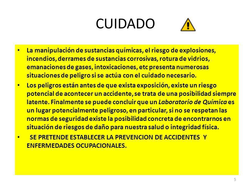 CUIDADO La manipulación de sustancias químicas, el riesgo de explosiones, incendios, derrames de sustancias corrosivas, rotura de vidrios, emanaciones