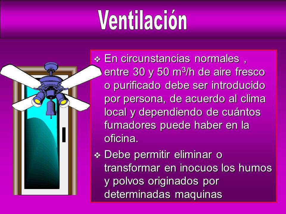 v En circunstancias normales, entre 30 y 50 m 3 /h de aire fresco o purificado debe ser introducido por persona, de acuerdo al clima local y dependien