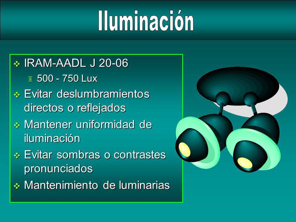 v IRAM-AADL J 20-06 3 500 - 750 Lux v Evitar deslumbramientos directos o reflejados v Mantener uniformidad de iluminación v Evitar sombras o contraste