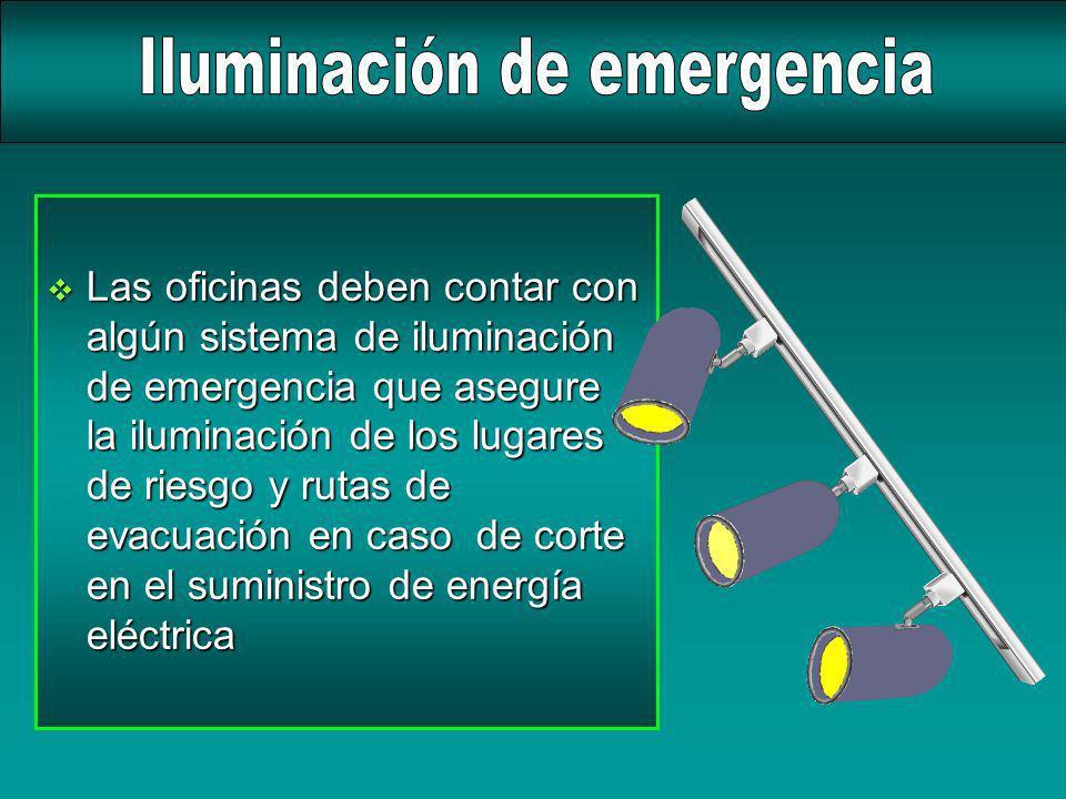 v Las oficinas deben contar con algún sistema de iluminación de emergencia que asegure la iluminación de los lugares de riesgo y rutas de evacuación e