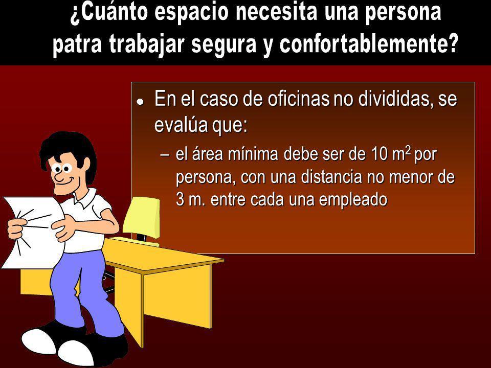 l En el caso de oficinas no divididas, se evalúa que: –el área mínima debe ser de 10 m 2 por persona, con una distancia no menor de 3 m. entre cada un