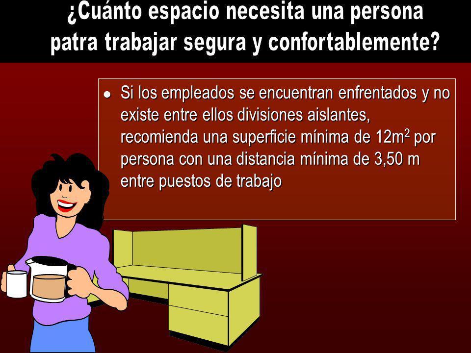 l Si los empleados se encuentran enfrentados y no existe entre ellos divisiones aislantes, recomienda una superficie mínima de 12m 2 por persona con u
