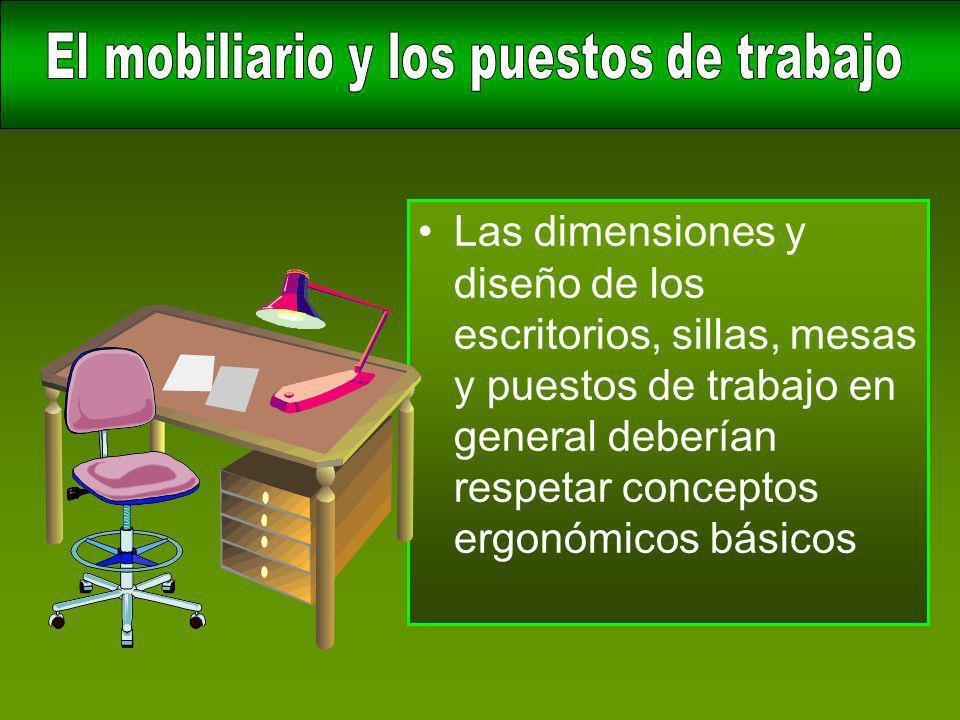 Las dimensiones y diseño de los escritorios, sillas, mesas y puestos de trabajo en general deberían respetar conceptos ergonómicos básicos