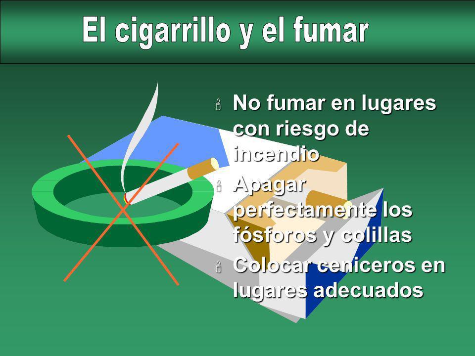 ' No fumar en lugares con riesgo de incendio ' Apagar perfectamente los fósforos y colillas ' Colocar ceniceros en lugares adecuados