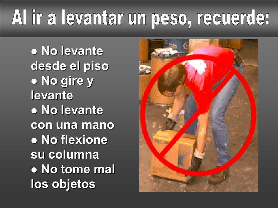 l No levante desde el piso l No gire y levante l No levante con una mano l No flexione su columna l No tome mal los objetos