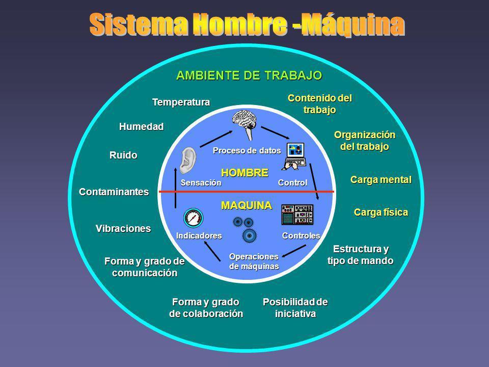AMBIENTE DE TRABAJO Temperatura Humedad Ruido Contaminantes Vibraciones Forma y grado de comunicación Forma y grado de colaboración Posibilidad de ini