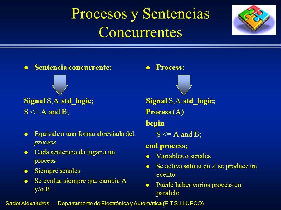 Sadot Alexandres - Departamento de Electrónica y Automática (E.T.S.I.I-UPCO) Procesos y Sentencias Concurrentes l Sentencia concurrente: Signal S,A:st