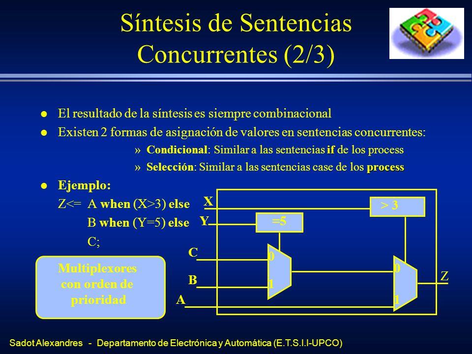 Sadot Alexandres - Departamento de Electrónica y Automática (E.T.S.I.I-UPCO) Síntesis de Sentencias Concurrentes (2/3) l El resultado de la síntesis e