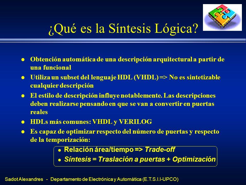 Sadot Alexandres - Departamento de Electrónica y Automática (E.T.S.I.I-UPCO) ¿Qué es la Síntesis Lógica? l Obtención automática de una descripción arq