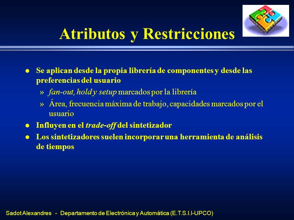 Sadot Alexandres - Departamento de Electrónica y Automática (E.T.S.I.I-UPCO) Atributos y Restricciones l Se aplican desde la propia librería de compon
