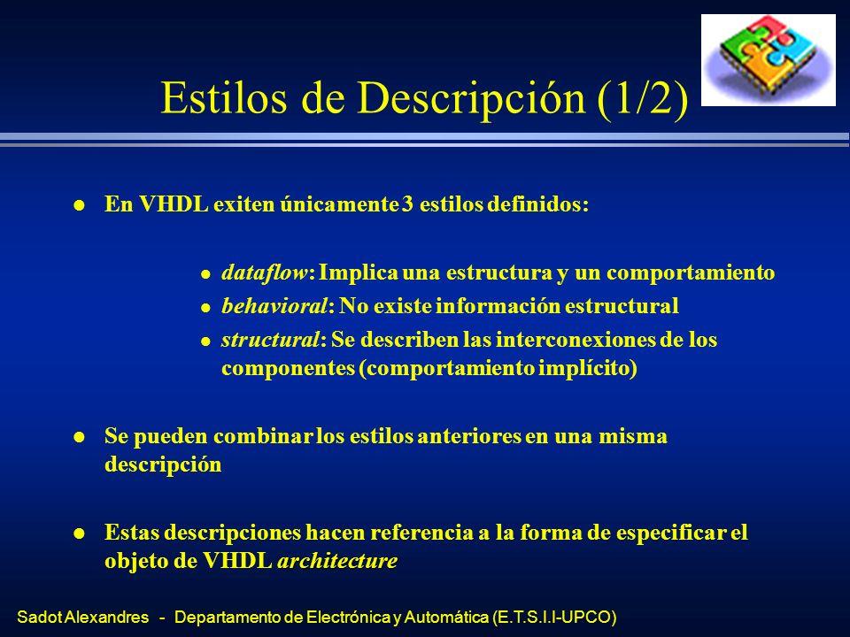 Sadot Alexandres - Departamento de Electrónica y Automática (E.T.S.I.I-UPCO) Estilos de Descripción (1/2) l En VHDL exiten únicamente 3 estilos defini