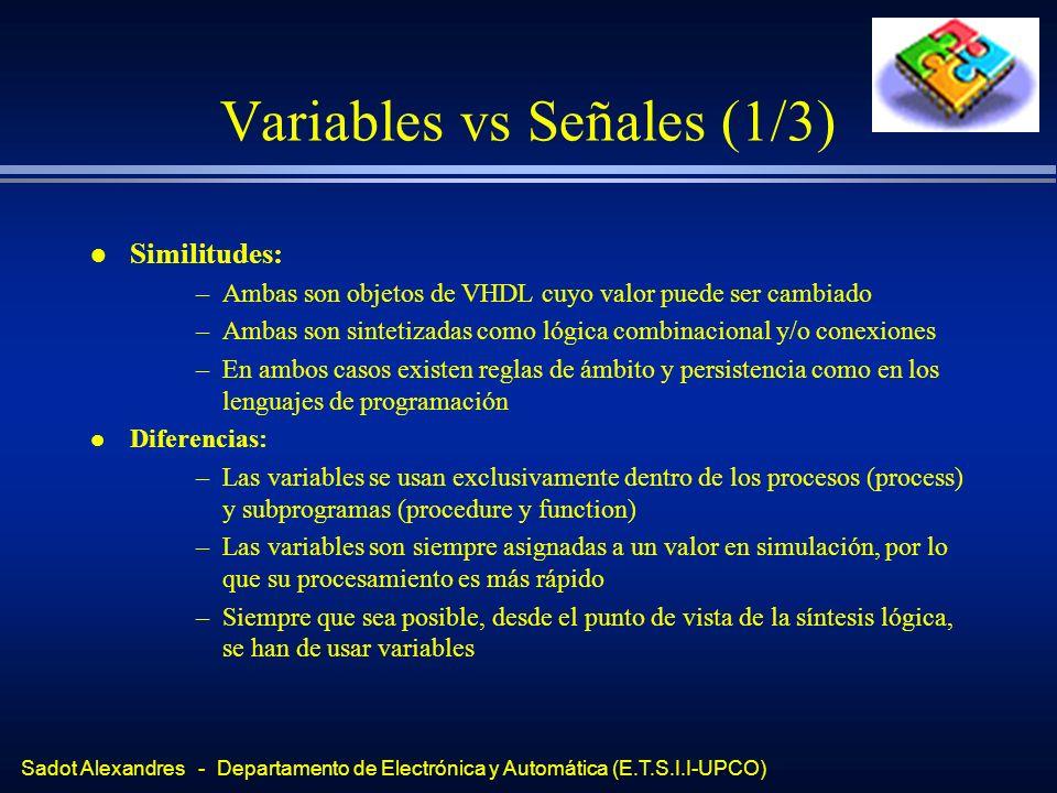 Sadot Alexandres - Departamento de Electrónica y Automática (E.T.S.I.I-UPCO) Variables vs Señales (2/3) l Recomendaciones: »Usar señales en operaciones de poca complejidad computacional »Usar variables para tipos y expresiones complejas »Asignar señales a variables, de forma temporal, siempre que sea posible »Usar señales para comunicar procesos NUNCA »No usar NUNCA tipos reales (No son sintetizables) »Reservar el tipo INTEGER para operaciones que así lo impongan »Intentar usar STD_LOGIC, STD_ULOGIC, BIT l Las operaciones tienen una precedencia por defecto, salvo que se usen paréntesis l El uso de paréntesis también impacta en el resultado final de la síntesis