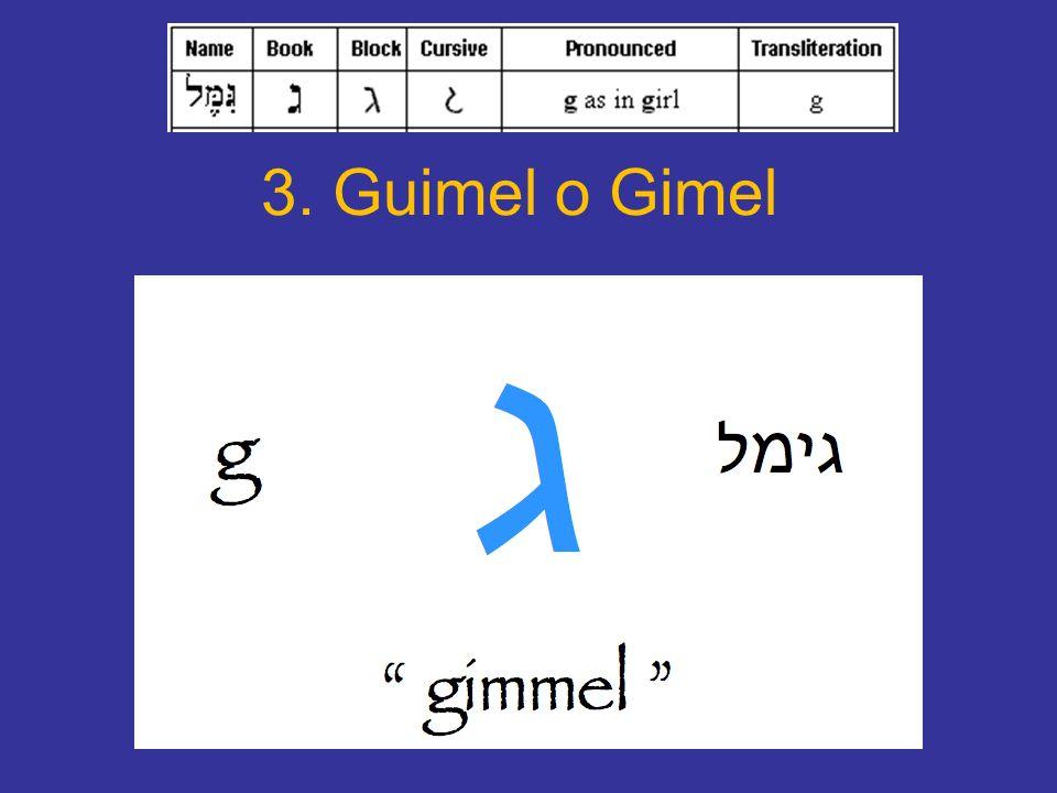 La letra guimel Letra de tipo paladal, equivalente a la G.