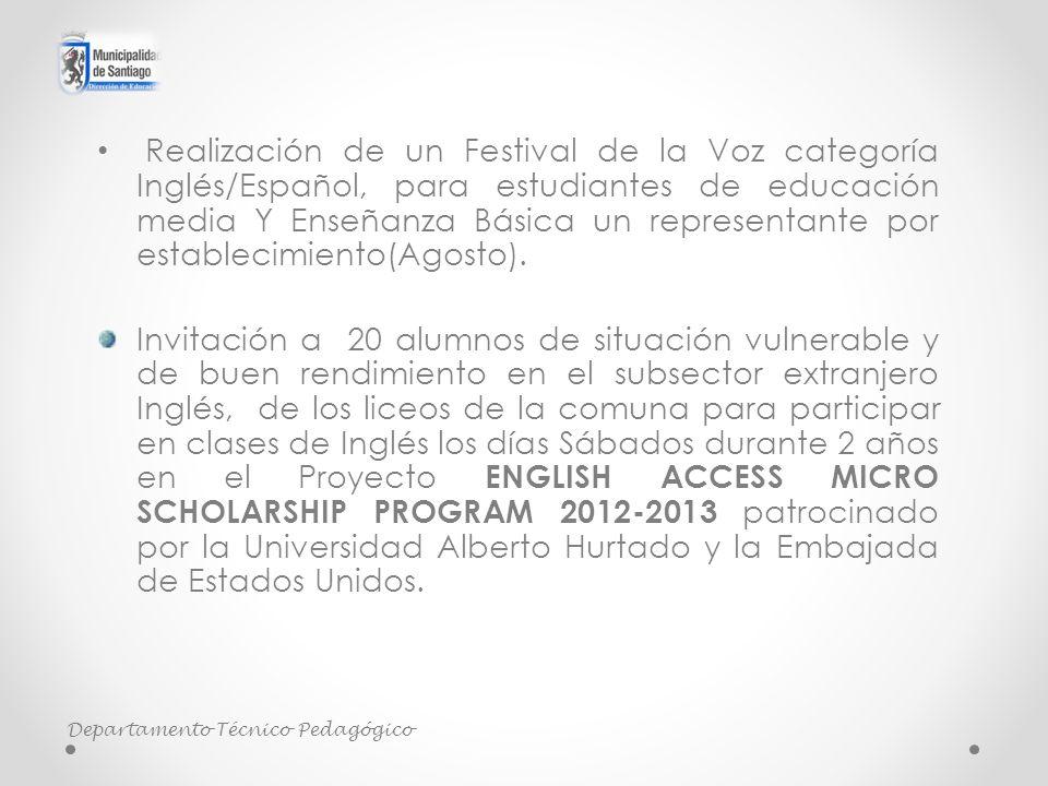 Realización de un Festival de la Voz categoría Inglés/Español, para estudiantes de educación media Y Enseñanza Básica un representante por establecimiento(Agosto).