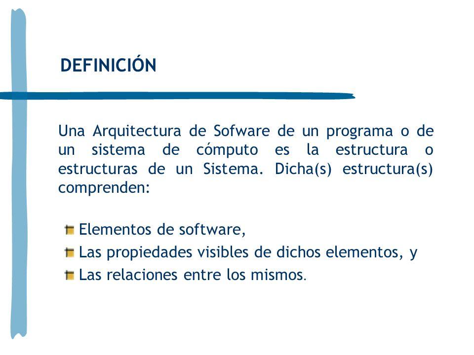 Una Arquitectura de Sofware de un programa o de un sistema de cómputo es la estructura o estructuras de un Sistema. Dicha(s) estructura(s) comprenden: