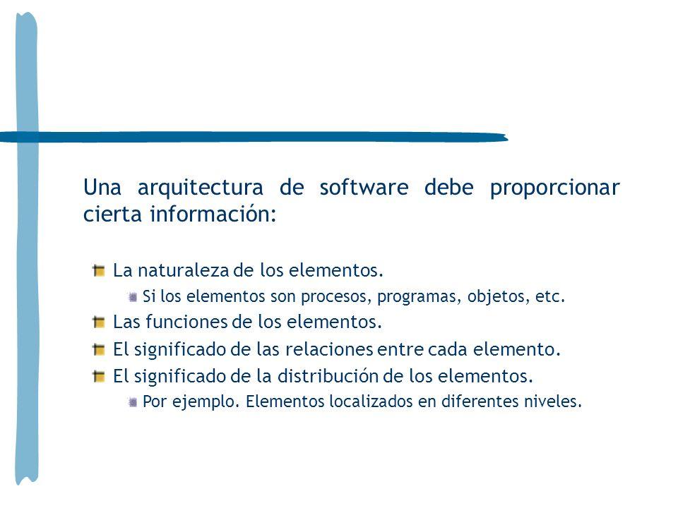 Una arquitectura de software debe proporcionar cierta información: La naturaleza de los elementos. Si los elementos son procesos, programas, objetos,