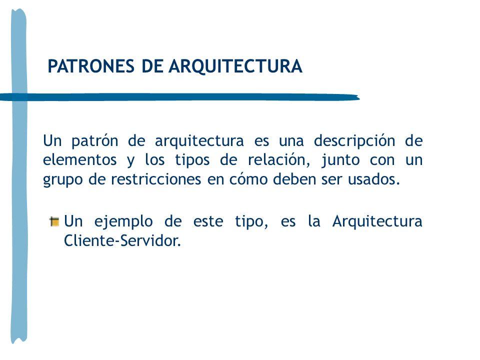 PATRONES DE ARQUITECTURA Un patrón de arquitectura es una descripción de elementos y los tipos de relación, junto con un grupo de restricciones en cóm