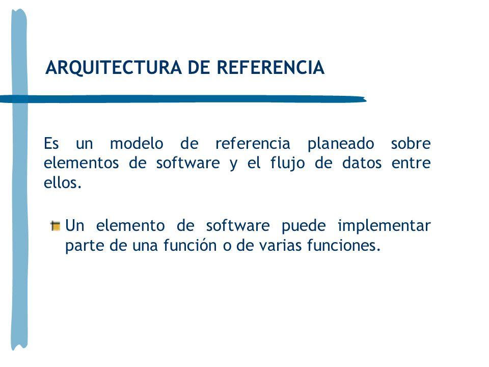 ARQUITECTURA DE REFERENCIA Es un modelo de referencia planeado sobre elementos de software y el flujo de datos entre ellos. Un elemento de software pu