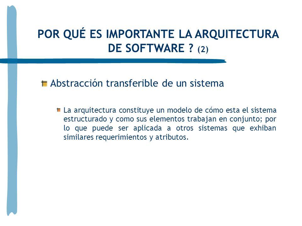 Abstracción transferible de un sistema La arquitectura constituye un modelo de cómo esta el sistema estructurado y como sus elementos trabajan en conjunto; por lo que puede ser aplicada a otros sistemas que exhiban similares requerimientos y atributos.