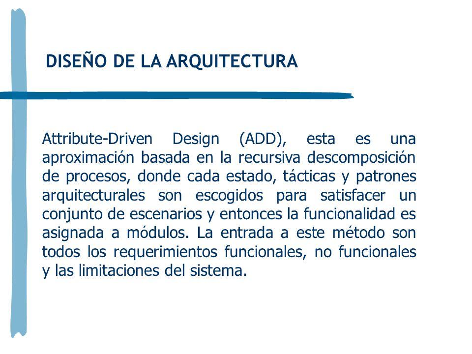 DISEÑO DE LA ARQUITECTURA Attribute-Driven Design (ADD), esta es una aproximaci ó n basada en la recursiva descomposici ó n de procesos, donde cada estado, t á cticas y patrones arquitecturales son escogidos para satisfacer un conjunto de escenarios y entonces la funcionalidad es asignada a m ó dulos.