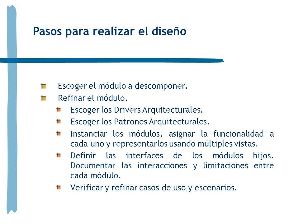Escoger el módulo a descomponer. Refinar el módulo. Escoger los Drivers Arquitecturales. Escoger los Patrones Arquitecturales. Instanciar los módulos,