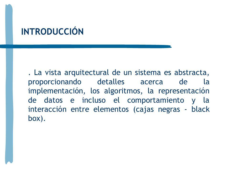 La vista arquitectural de un sistema es abstracta, proporcionando detalles acerca de la implementación, los algoritmos, la representación de datos e incluso el comportamiento y la interacción entre elementos (cajas negras - black box).