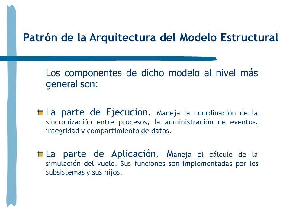 Patrón de la Arquitectura del Modelo Estructural Los componentes de dicho modelo al nivel más general son: La parte de Ejecución. Maneja la coordinaci