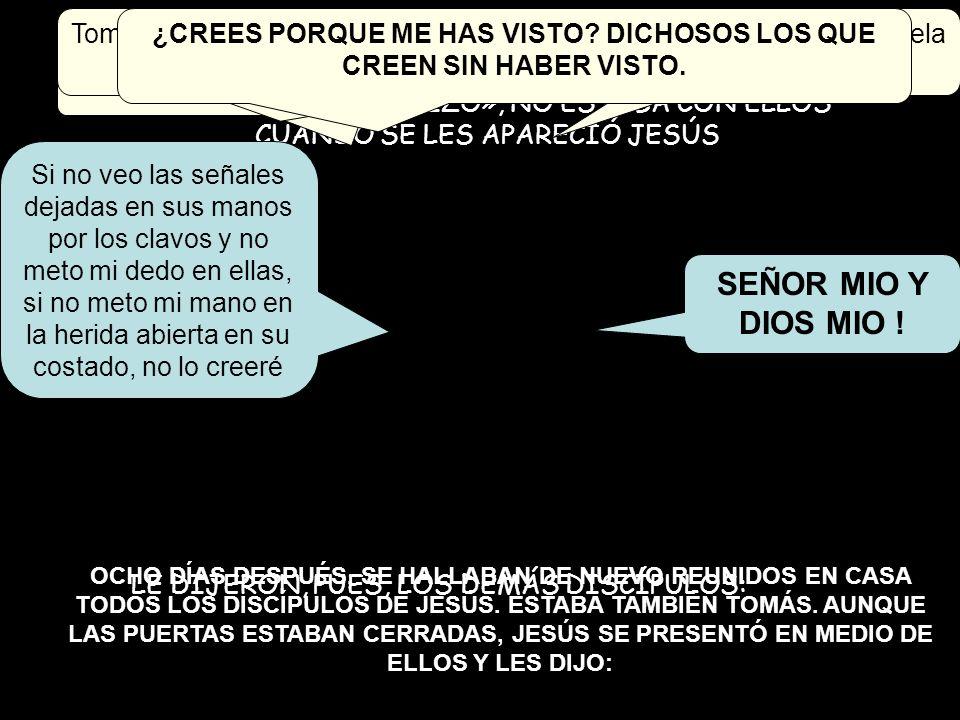 TOMÁS, UNO DEL GRUPO DE LOS DOCE, A QUIEN LLAMABAN «EL MELLIZO», NO ESTABA CON ELLOS CUANDO SE LES APARECIÓ JESÚS LE DIJERON, PUES, LOS DEMÁS DISCÍPUL