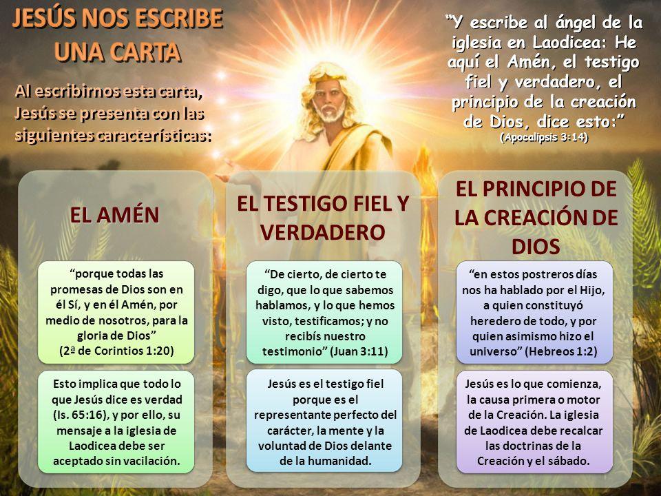 EL PRINCIPIO DE LA CREACIÓN DE DIOS EL TESTIGO FIEL Y VERDADERO EL AMÉN Y escribe al ángel de la iglesia en Laodicea: He aquí el Amén, el testigo fiel