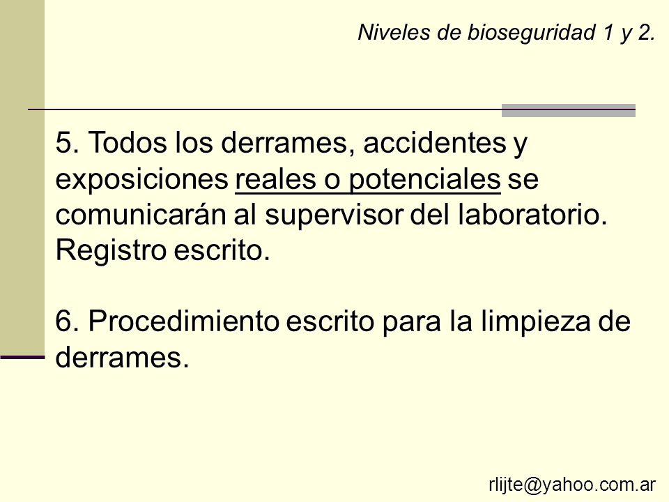 5. Todos los derrames, accidentes y exposiciones reales o potenciales se comunicarán al supervisor del laboratorio. Registro escrito. 6. Procedimiento