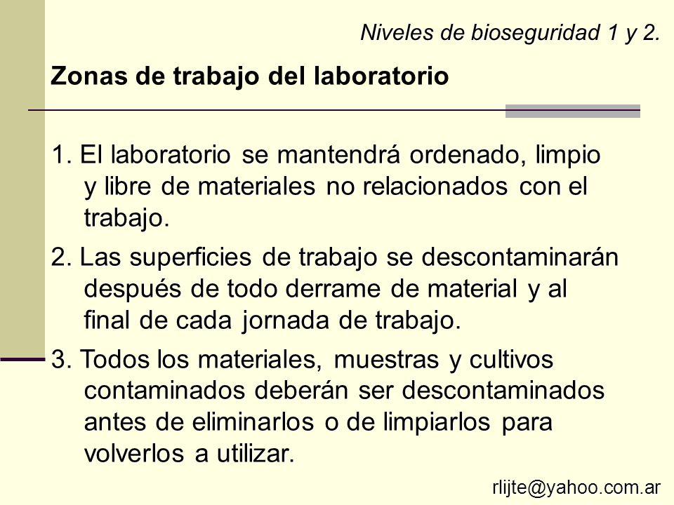 Zonas de trabajo del laboratorio 1. El laboratorio se mantendrá ordenado, limpio y libre de materiales no relacionados con el trabajo. 2. Las superfic