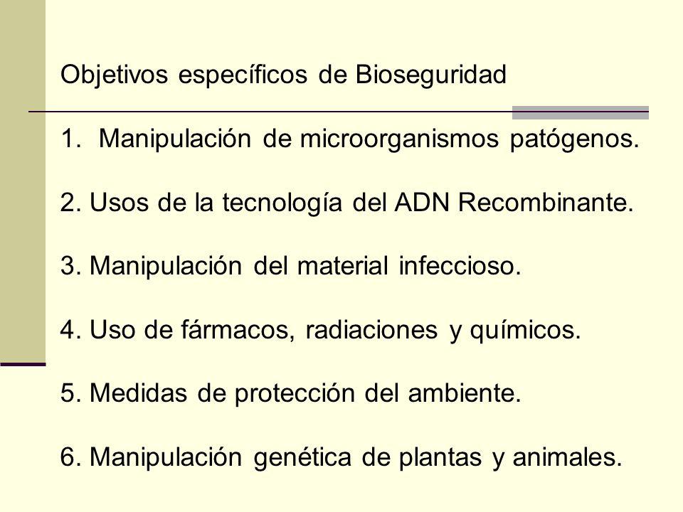Objetivos específicos de Bioseguridad 1.Manipulación de microorganismos patógenos. 2. Usos de la tecnología del ADN Recombinante. 3. Manipulación del