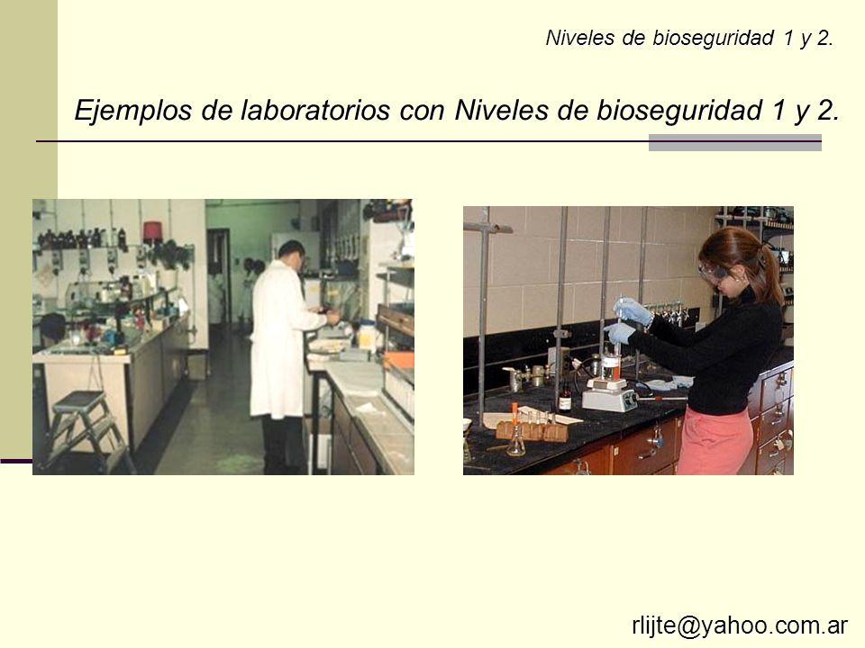 Niveles de bioseguridad 1 y 2. Ejemplos de laboratorios con Niveles de bioseguridad 1 y 2. rlijte@yahoo.com.ar