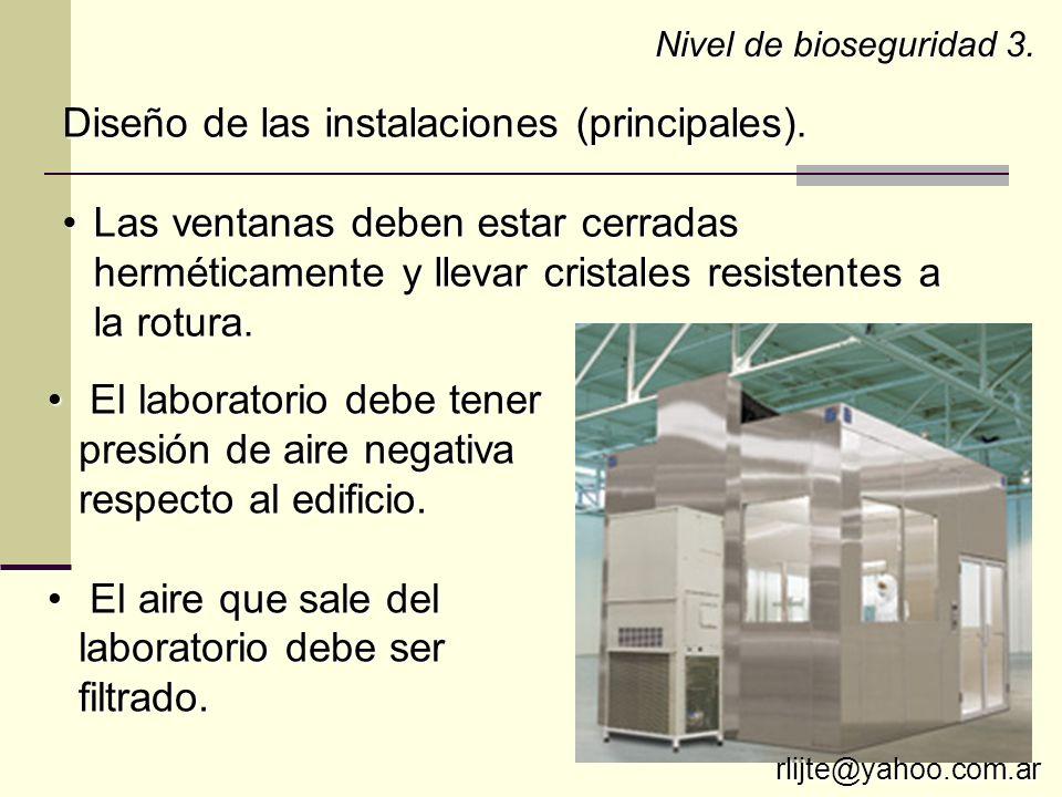Nivel de bioseguridad 3. Diseño de las instalaciones (principales). Las ventanas deben estar cerradas herméticamente y llevar cristales resistentes a