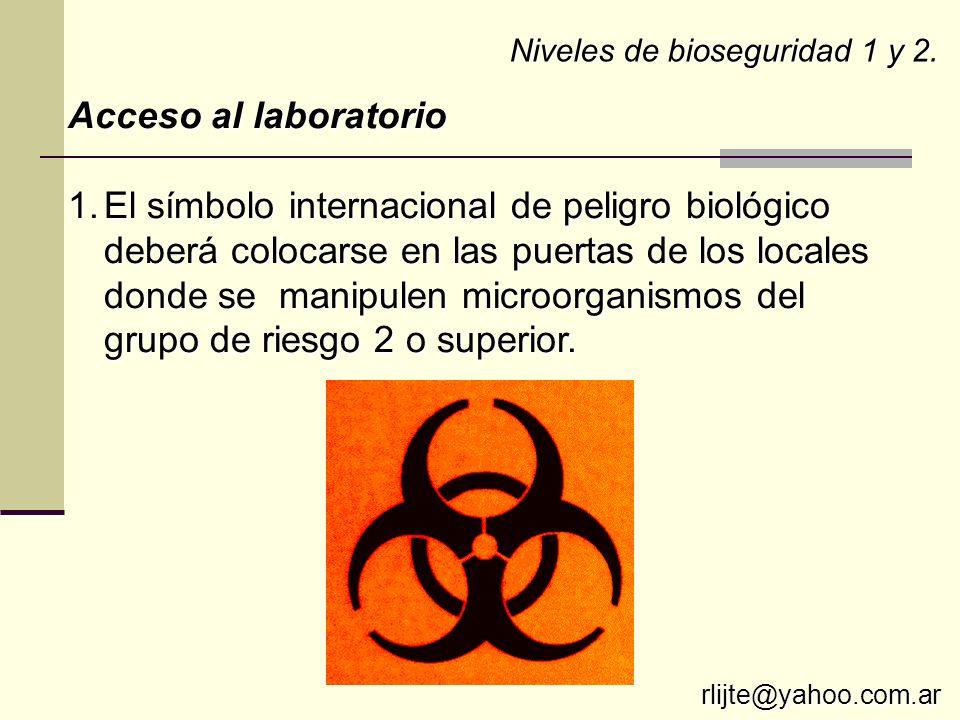 Niveles de bioseguridad 1 y 2. Acceso al laboratorio 1.El símbolo internacional de peligro biológico deberá colocarse en las puertas de los locales do