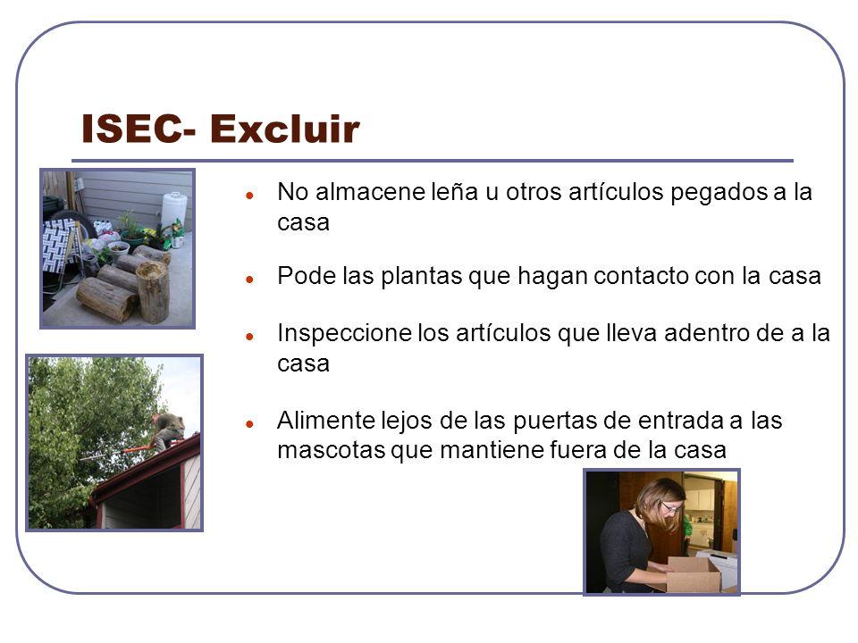 ISEC- Excluir No almacene leña u otros artículos pegados a la casa Pode las plantas que hagan contacto con la casa Inspeccione los artículos que lleva