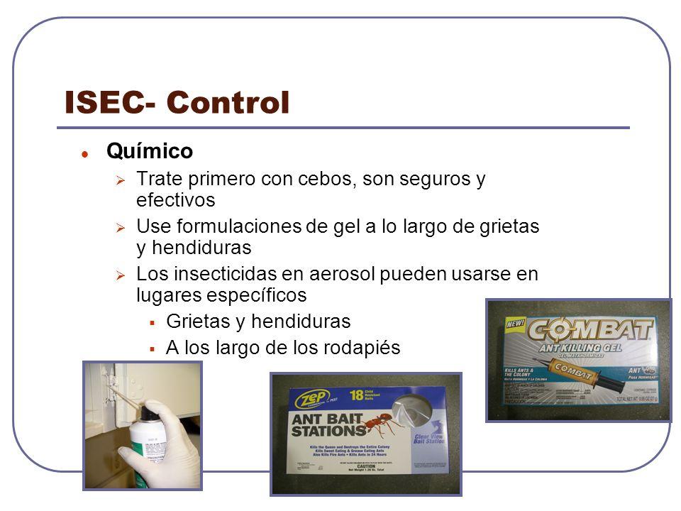 ISEC- Control Químico Trate primero con cebos, son seguros y efectivos Use formulaciones de gel a lo largo de grietas y hendiduras Los insecticidas en