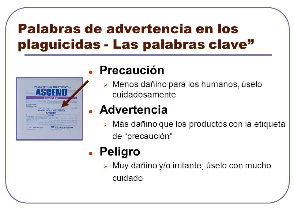 Palabras de advertencia en los plaguicidas - Las palabras clave Precaución Menos dañino para los humanos, úselo cuidadosamente Advertencia Más dañino