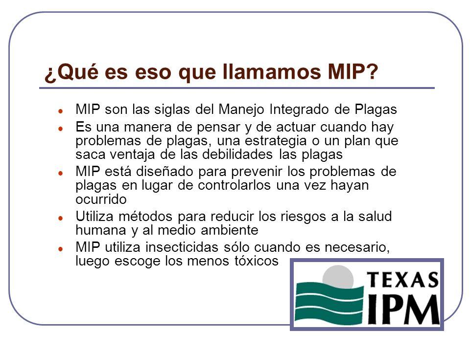 ¿Qué es eso que llamamos MIP? MIP son las siglas del Manejo Integrado de Plagas Es una manera de pensar y de actuar cuando hay problemas de plagas, un