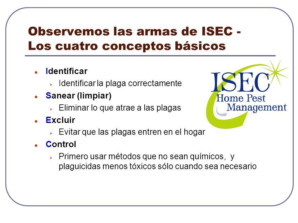 Observemos las armas de ISEC - Los cuatro conceptos básicos Identificar Identificar la plaga correctamente Sanear (limpiar) Eliminar lo que atrae a la