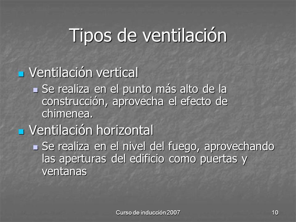 Curso de inducción 200710 Tipos de ventilación Ventilación vertical Ventilación vertical Se realiza en el punto más alto de la construcción, aprovecha el efecto de chimenea.