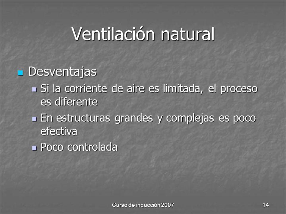 Curso de inducción 200714 Ventilación natural Desventajas Desventajas Si la corriente de aire es limitada, el proceso es diferente Si la corriente de aire es limitada, el proceso es diferente En estructuras grandes y complejas es poco efectiva En estructuras grandes y complejas es poco efectiva Poco controlada Poco controlada