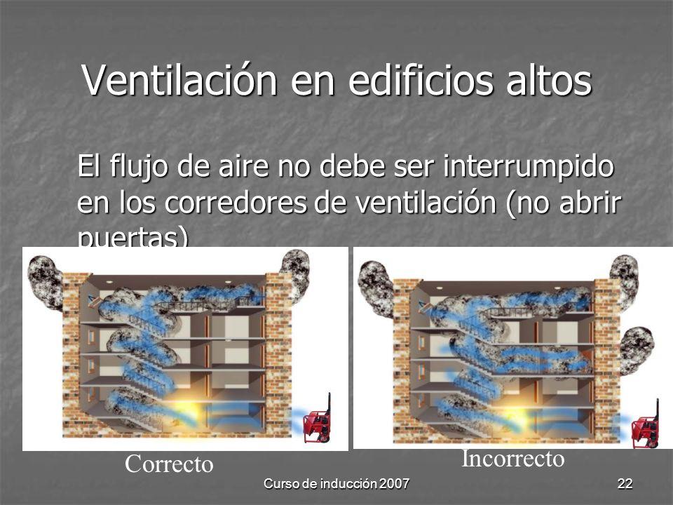 Curso de inducción 200722 Ventilación en edificios altos El flujo de aire no debe ser interrumpido en los corredores de ventilación (no abrir puertas) Correcto Incorrecto